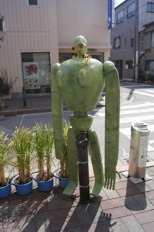 清澄白河駅から美術館までの道のりの間にやっていた「かかしコンテスト」ロボット兵がお出迎え!