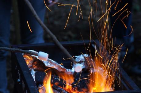 焚き火でマシュマロ焼き