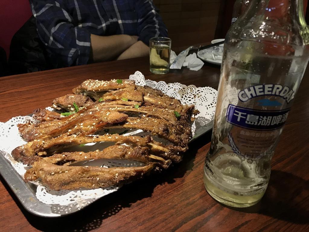 羊の肉とビール